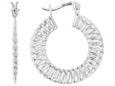 Sterling Silver 5x25MM Scalloped Tube Hoop Earrings