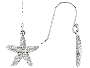 Sterling Silver Textured Starfish Drop Earrings