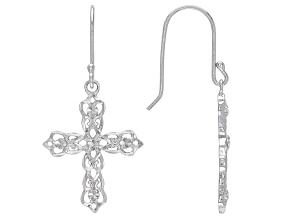 Sterling Silver Diamond-Cut Filigree Cross Dangle Earrings