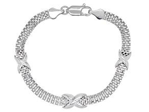 "Sterling Silver Mesh ""X"" Station Bracelet"