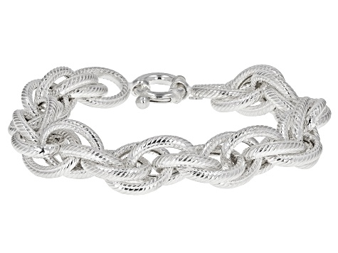 Sterling Silver 13.6MM Loose Rope Link Bracelet