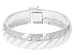 Sterling Silver 16MM Diamond-Cut Omega Bracelet