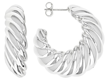 Picture of Sterling Silver Scalloped Graduated Hoop Earrings