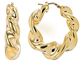 18K Yellow Gold Over Sterling Silver Twisted High Polished Earrings