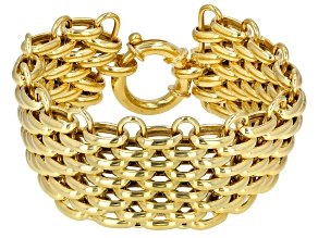 18K Yellow Gold Over Sterling Silver 32MM Panther Link Bracelet