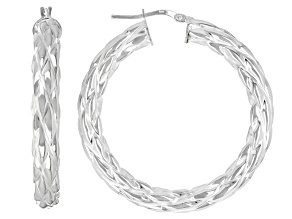 Sterling Silver 5x31MM Woven Tube Hoop Earrings