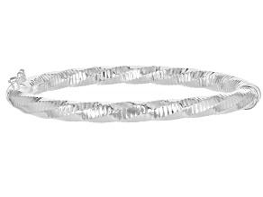 Sterling Silver 5.7MM Diamond-Cut Hinged Bangle