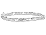 Sterling Silver Diamond-Cut Hinged Bangle
