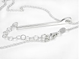 Sterling Silver Diamond-Cut Drop Bar Rolo Necklace