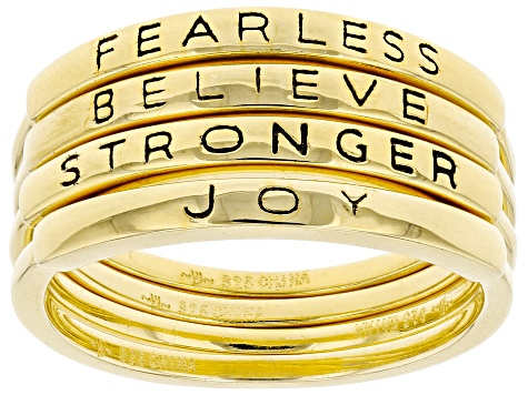 18K Yellow Gold Over Sterling Silver Inspirational Stacking Rings