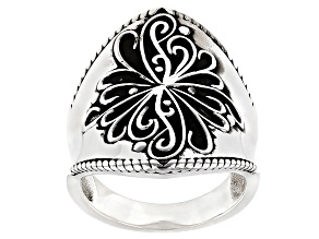 Rhodium Over Sterling Silver Oxidized Dome Ring