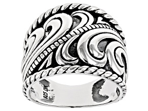 Rhodium Over Sterling Silver Oxidized Swirl Dome Ring