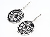 Rhodium Over Sterling Silver Oxidized Swirl Oval Earrings