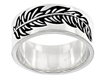 Picture of Rhodium Over Sterling Silver Oxidized Leaf Band Ring