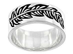Rhodium Over Sterling Silver Oxidized Leaf Band Ring