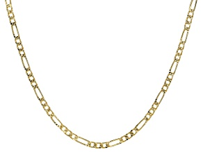 18K Yellow Gold Over Sterling Silver 3.7MM Figaro Chain