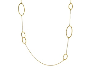 18K Yellow Gold Over Sterling Silver Oval Station Necklace