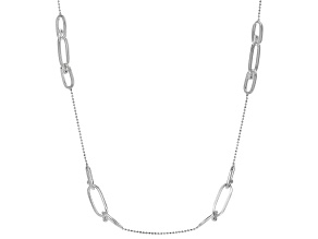 Sterling Silver Station Paperclip Necklace