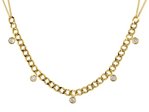 18K Yellow Gold Over Sterling Silver with White Cubic Zirconia Curb Necklace