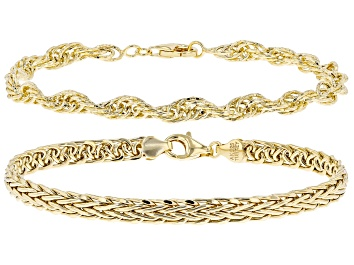 Picture of 18K Yellow Gold Over Sterling Silver Singapore and Wheat Link Bracelets Set of 2