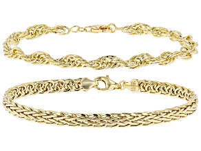 18K Yellow Gold Over Sterling Silver Singapore and Wheat Link Bracelets Set of 2