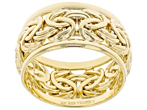 18K Yellow Gold Over Sterling Silver 10MM Byzantine Band Ring
