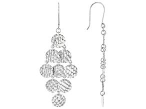 Rhodium Over Sterling Silver Diamond-Cut Chandelier Earrings