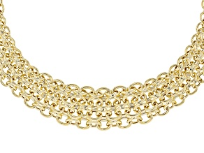 18K Yellow Gold Over Sterling Silver 21MM-15MM Graduated High Polished Oval Necklace