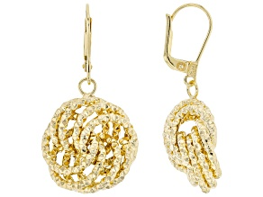 18K Yellow Gold Over Sterling Silver Diamond-Cut Rosetta Link Dangle Earrings