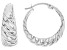 Rhodium Over Sterling Silver 8x24MM Graduated Twisted Squared Tube Hoop Earrings