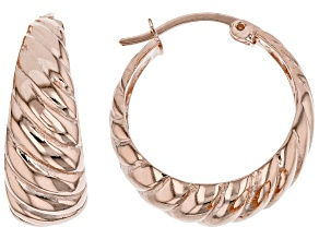 18K Rose Over Sterling Silver 8x24MM Graduated Twisted Squared Tube Hoop Earrings