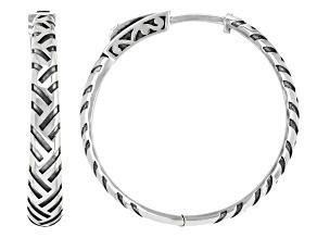 Sterling Silver Oxidized Basket Weave Design Tube Hoop Earrings