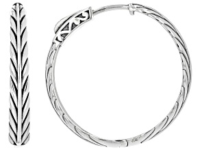 Rhodium Over Sterling Silver Oxidized Wheat Design Tube Hoop Earrings