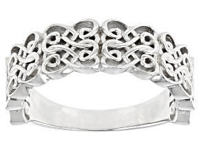 Rhodium Over Sterling Silver Heart Shaped Scroll Design Ring