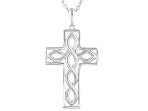 Rhodium Over Sterling Silver Swirl Cross Pendant with Diamond-Cut Singapore Chain