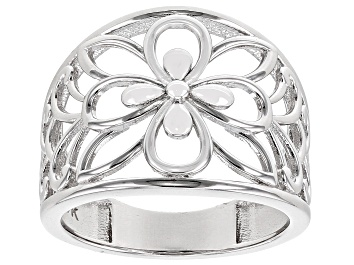 Picture of Rhodium Over Sterling Silver 16.3MM Open Dome Flower Design Ring