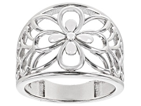 Rhodium Over Sterling Silver 17MM Open Dome Flower Design Ring