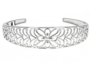 Rhodium Over Sterling Silver Open Flower Design Cuff