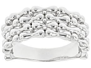 Rhodium Over Sterling Silver 8.6MM Ring
