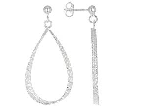Sterling Silver Fan Drop Hoop Earrings