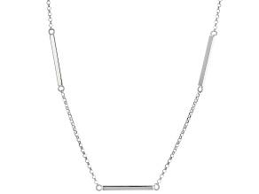 Sterling Silver Station Tube Bar Necklace