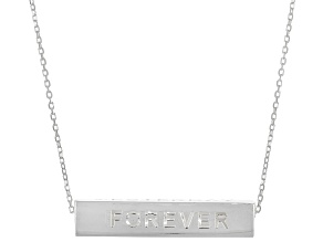 """Sterling Silver Longevity """"Yesterday, Today, Tomorrow, Forever"""" Bar Necklace"""