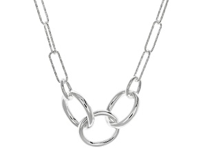 Sterling Silver Diamond-Cut Triple Circle Paperclip Necklace