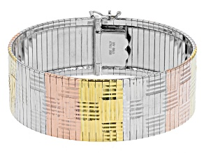 Sterling Silver, 18K Yellow Gold Over Sterling Silver, & 18K Rose Gold Over Sterling Silver Bracelet