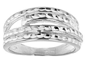 Sterling Silver Diamond-Cut 9.1MM Multi-Row Ring