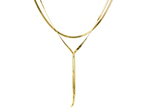 18K Yellow Gold Over Sterling Silver Multi-Strand Flat 18 Inch Herringbone Necklace