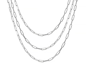 Sterling Silver 2.3MM Set of Three Diamond-Cut Paperclip Chains