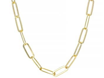 Picture of 18K Yellow Gold Over Sterling Silver Flat Paperclip Chain