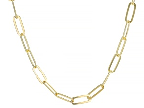 18K Yellow Gold Over Sterling Silver Flat Paperclip Chain