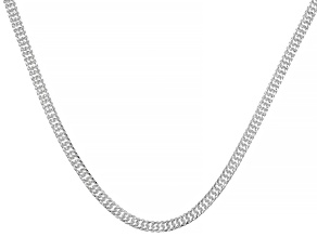 Sterling Silver 3.4MM Pave Double Curb Chain